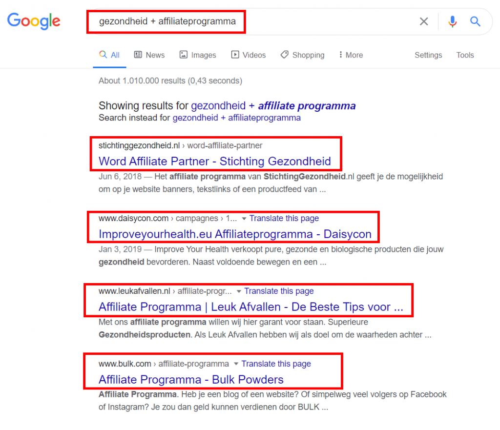 Google-gezondheids-affiliate-programma